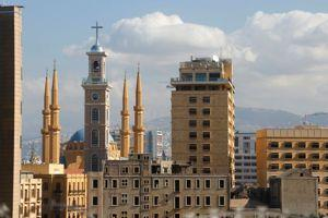 Saint George Maronite Cathedral's new bell tower is pictured near al-Amin mosque in downtown Beirut