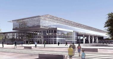 Vue de la gare Nord. La gare sera signalée par la mezzanine et une réécriture de la façade avec un porte-à-faux qui accueillera un res