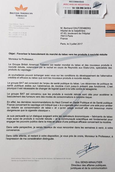 Copie de la lettre envoyée au professeur Dautzenberg et à d'autres médecins.