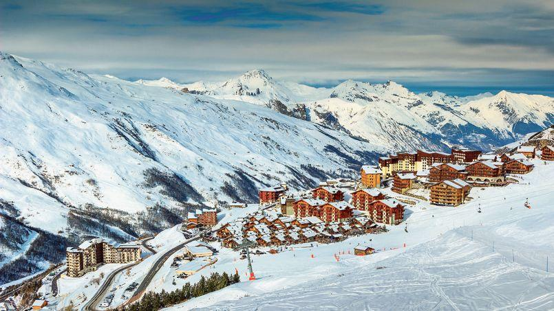 Winter landscape and ski resort in the French Alps,Europe