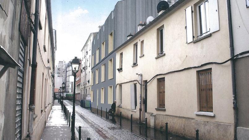 L'immeuble (au centre, en gris) contient six logements d'une surface comprise entre 25 et 83 m²