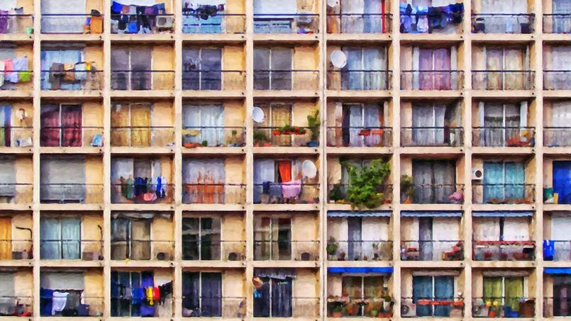 Œuvre digitale évoquant un immeuble marseillais.