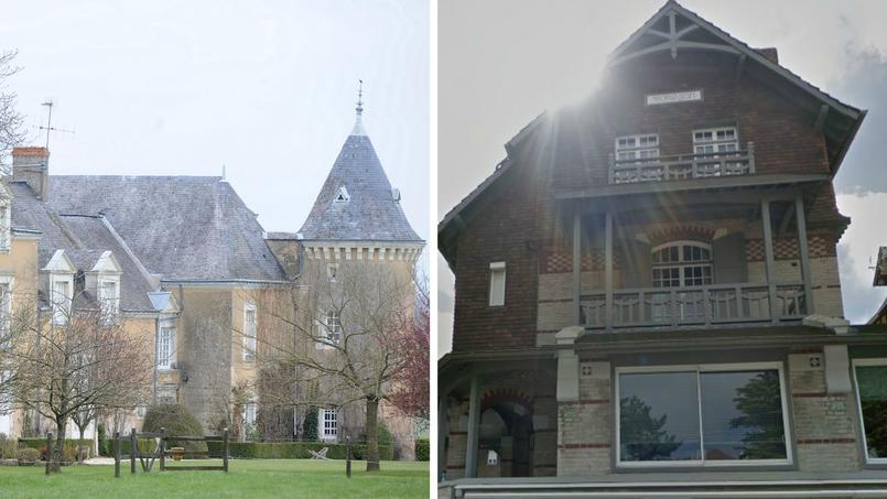 Le manoir de Beaucé <i> (à gauche)</i> et la maison du couple Macron au Touquet.