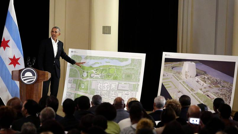 Former US President Barack Obama and First Lady Michelle Obama speak about the Obama Presidential Center