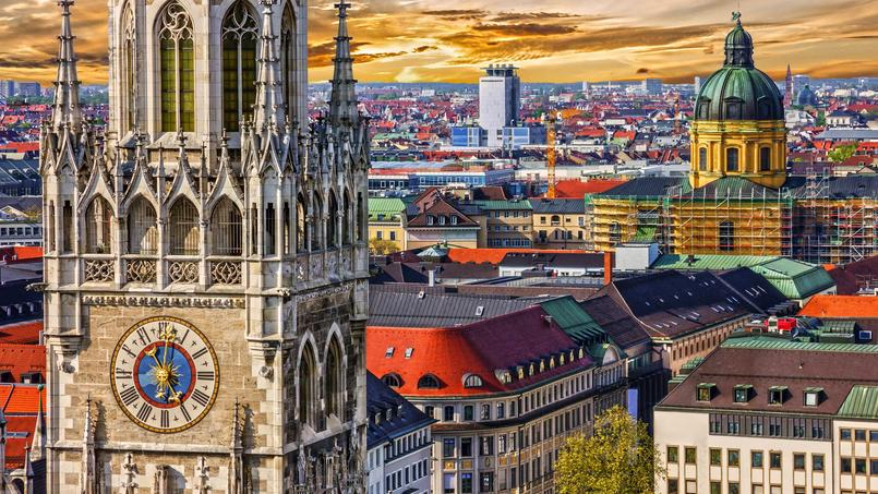 Vue générale de Munich, en Bavière.