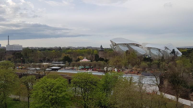 Vue plongeante sur la fin du chantier du Jardin d'acclimatation.