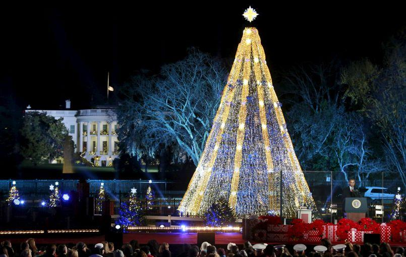 U.S. President Barack Obama speaks during the National Christmas Tree Lighting and Pageant of Peace ceremony in Washington