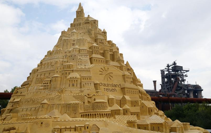 Guinness World Record sand castle, 16.68 metres hight, is seen in Duisburg