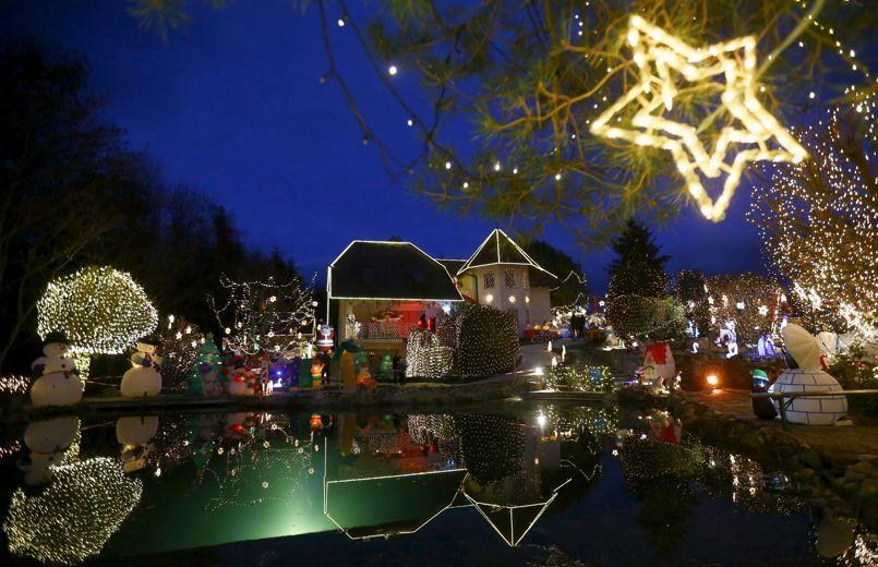 A general view shows Christmas decoration at a country house estate in the village of Bad Tatzmannsdorf, Austria