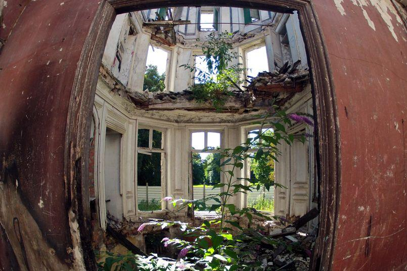 Inside view of an abandoned 19th century manor in Goussainville-Vieux Pays, north of Paris