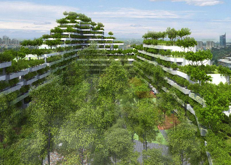 Au vietnam des immeubles reli s par des ponts a riens for Architecture vegetale