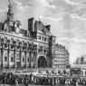 Le roi de France Louis XVI arrivant a l'hôtel de ville de Paris le 17 juillet 1789.