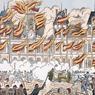 Les ruines de la Grande Salle des Fêtes après l'incendie par les Communards de l'Hôtel de Ville de Paris le 24 mai 1871.