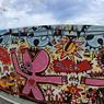 Fresque de François Nasica, street artiste, qui a participé au projet d'inscrire l'art dans le quartier de l'Eco-Vallée à Nice (Côte d'Azur).