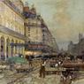 La construction du métro en 1900, un tableau peint par Luigi Loir en 1900.
