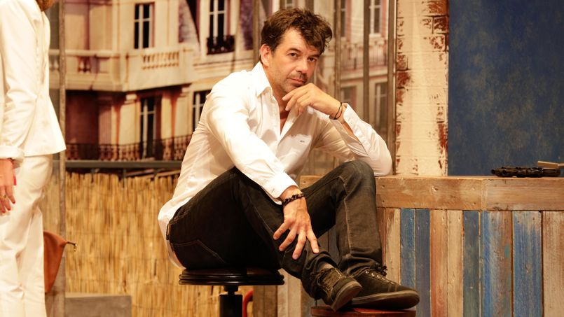 Stéphane Plaza, animateur télé, agent immobilier et acteur (ici dans la pièce,                 <i> A gauche en sortant de l'ascenseur)</i>.Crédit: Abaca.