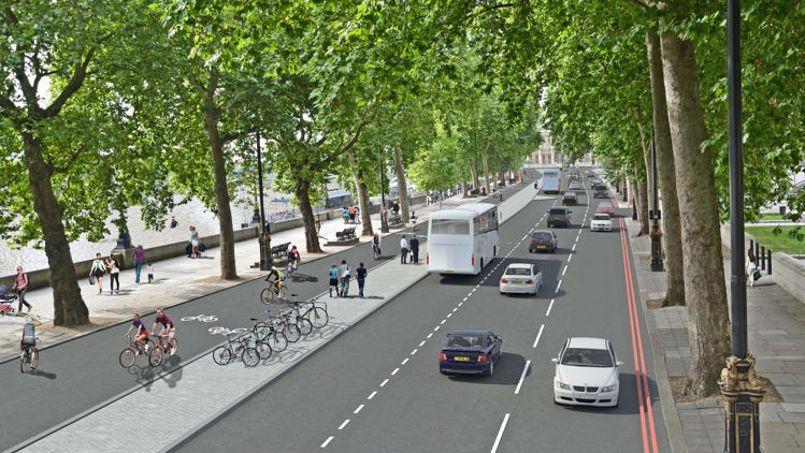Image de synthèse d'un tronçon d'autoroute pour vélos aménagé dans les rues de Londres. Crédit photo: PA