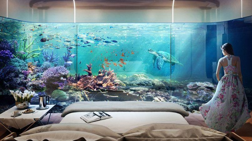 vue sous marine depuis la chambre coucher la prsence de poissons et - Lit A Eau Avec Poisson