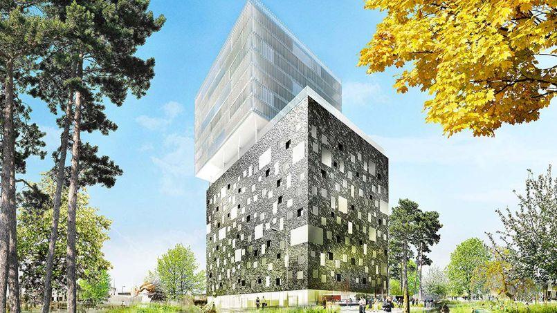 La tour In nova sera construite d'ici à 2017 dans le quartier de la gare Saint-Jean à Bordeaux. Avec ses 56 mètres de haut, l'infrastructure sera l'une des plus haute de la ville. Crédit Photo: Bühler et Dain