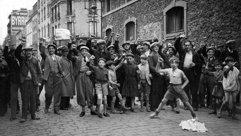 Manifestations ouvrières en 1936.