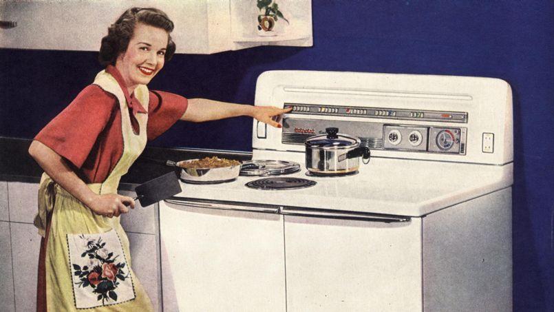 Publicité pour une cuisinière électrique américaine des années 40.