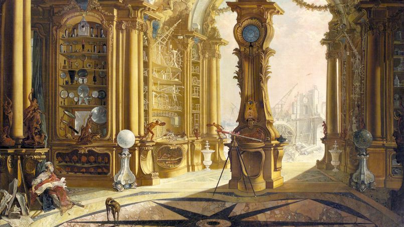 D'après Jacques de Lajoüe, Le Cabinet de physique de Bonnier de La Mosson 1734, huile sur toile, Blessington, Irlande, collection Beit ©National Gallery of Ireland.