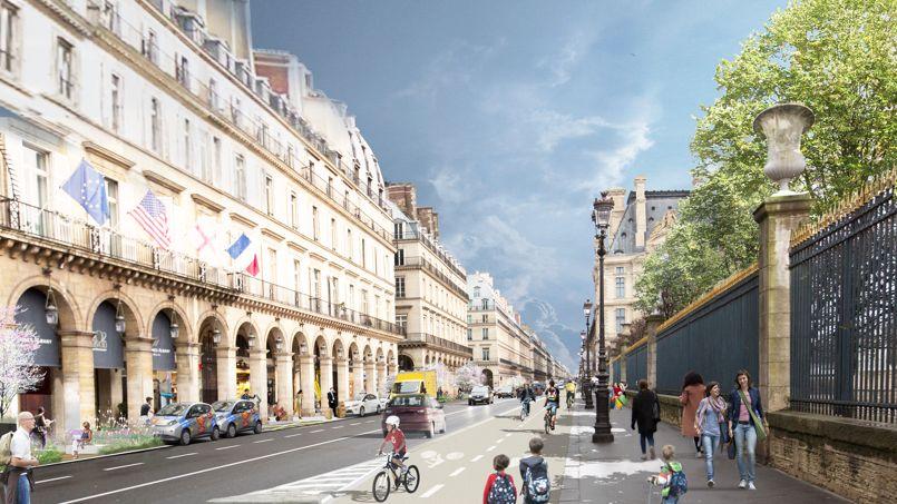 La Mairie compte diviser par deux le trafic automobile, rue de Rivoli. Crédit: Céline Orsinger
