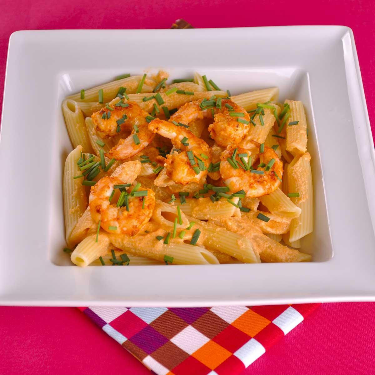 Recette penne aux langoustines cuisine madame figaro for Astuce cuisine rapide