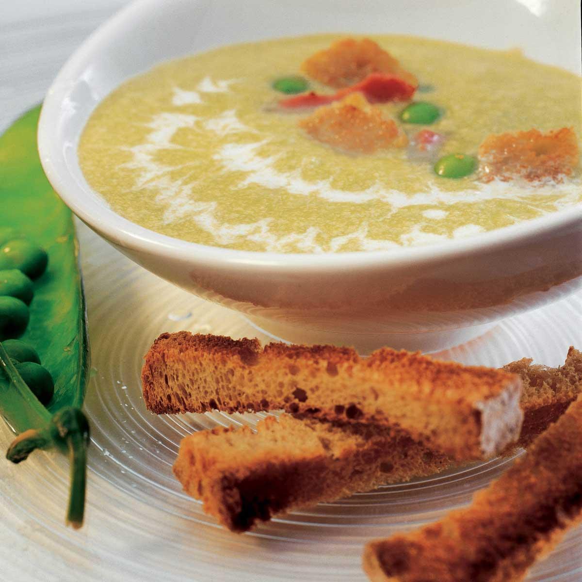 Recette velout de petits pois lardons et cro tons for Petit pois cuisine