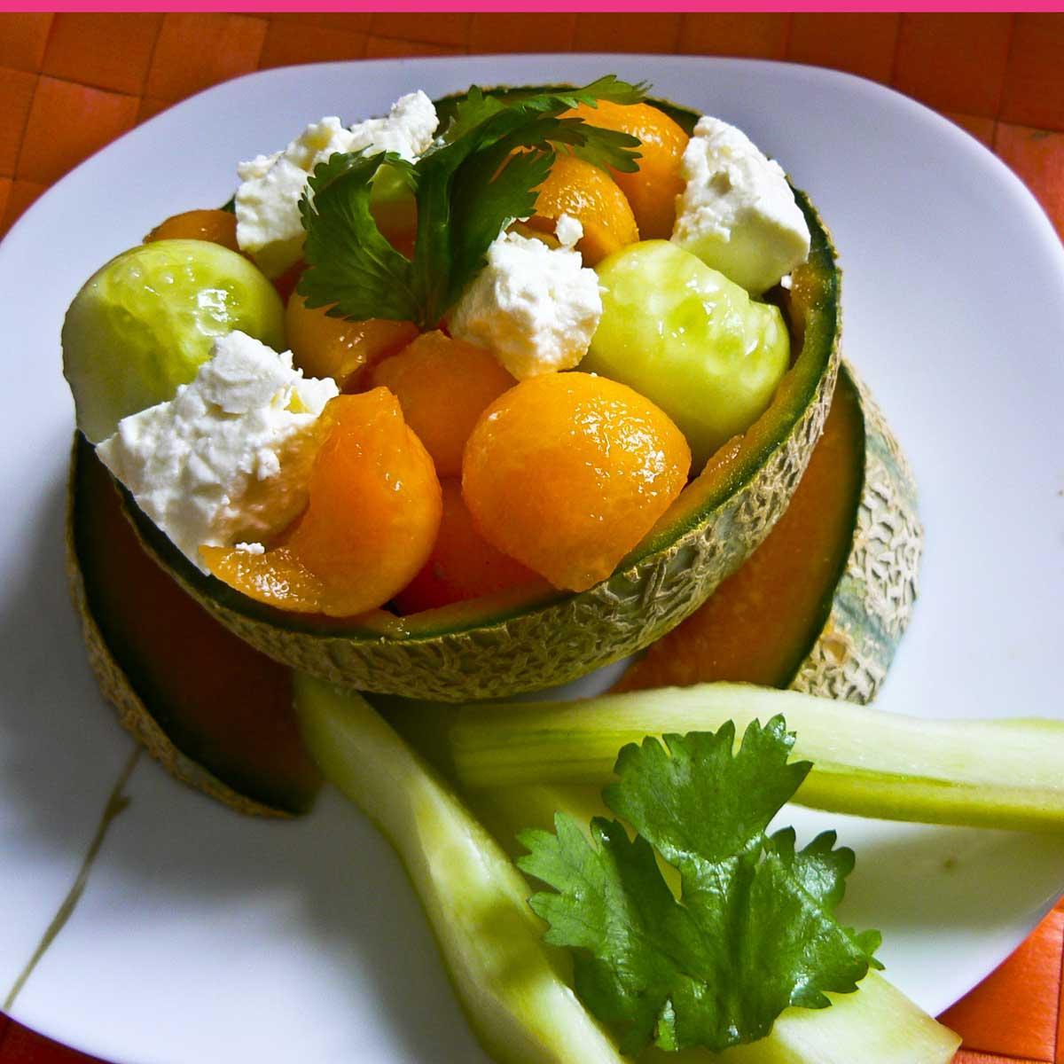 recette salade de concombre au melon et la f ta cuisine madame figaro. Black Bedroom Furniture Sets. Home Design Ideas