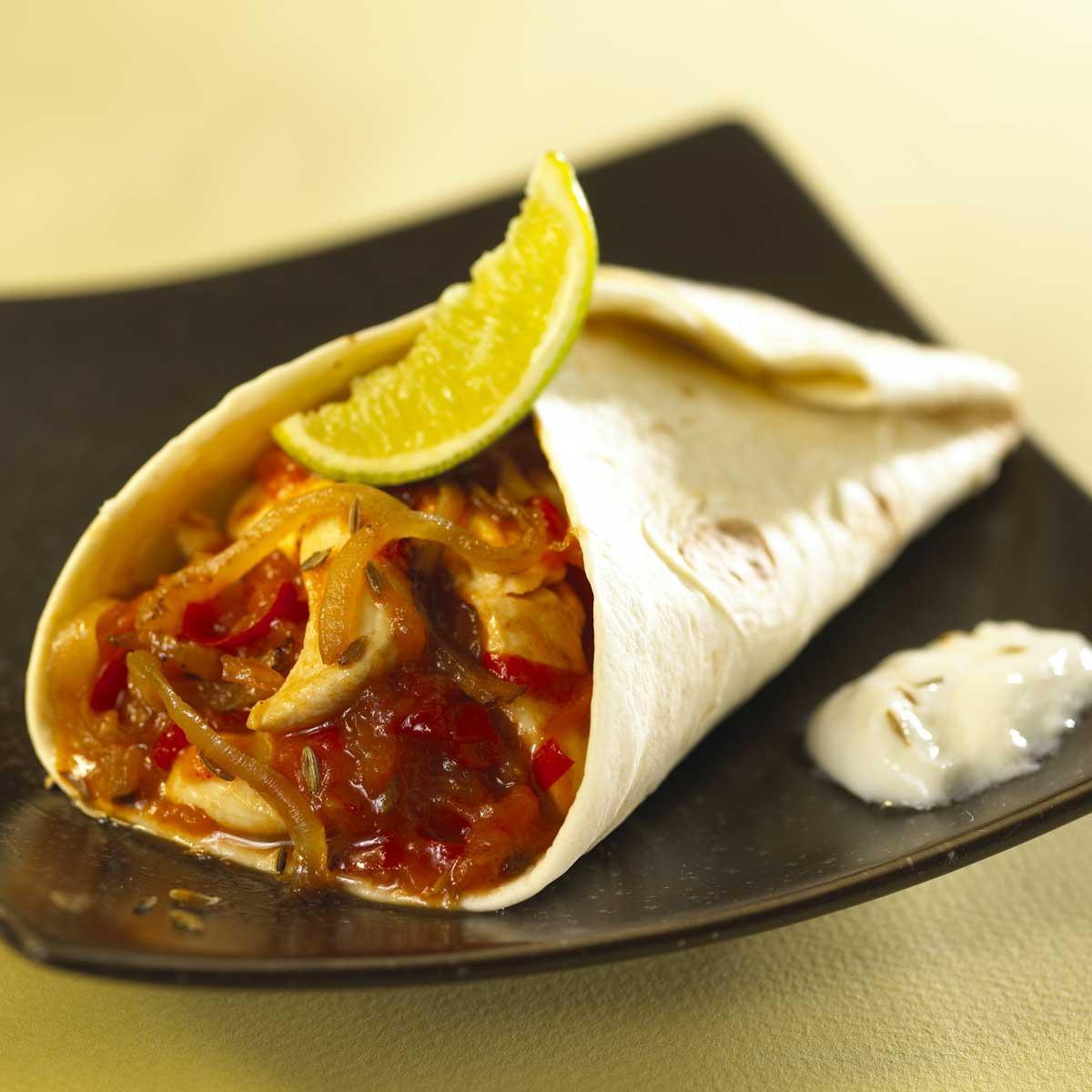recette burritos de poulet tomate piment e et fra cheur de. Black Bedroom Furniture Sets. Home Design Ideas