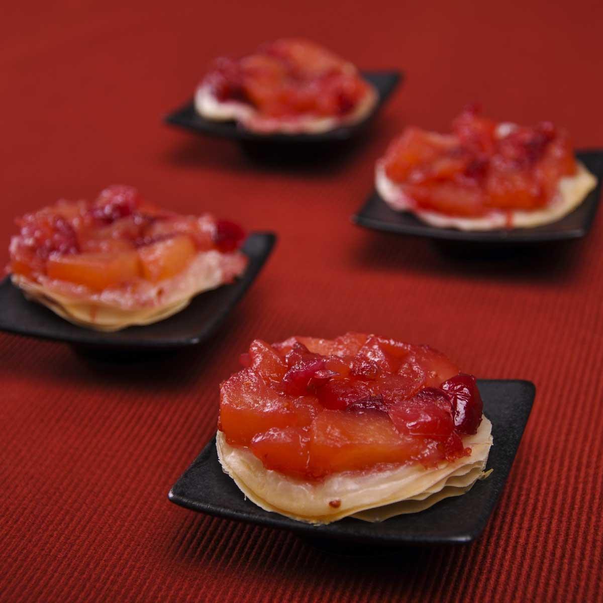tartelettes tatin croustillante pomme cranberry une recette dessert cuisine le figaro madame