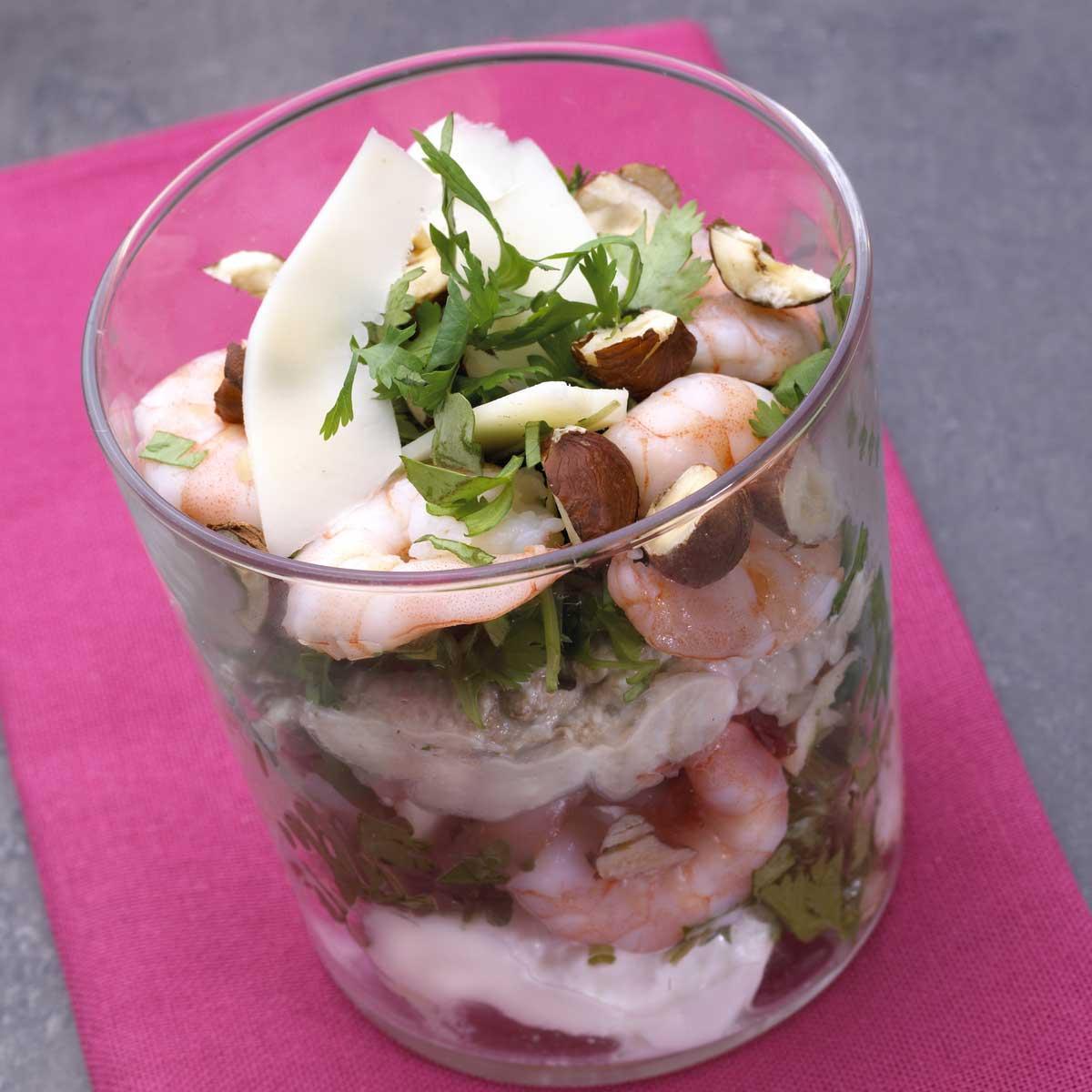 recette verrines de crevettes et de fromage frais cuisine