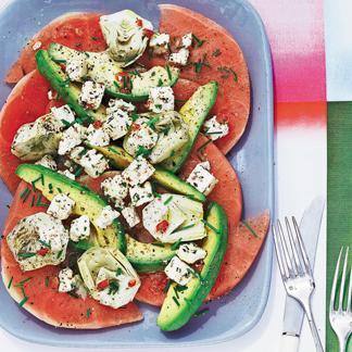 Recette salade de pastèque, feta et avocat - Cuisine / Madame...