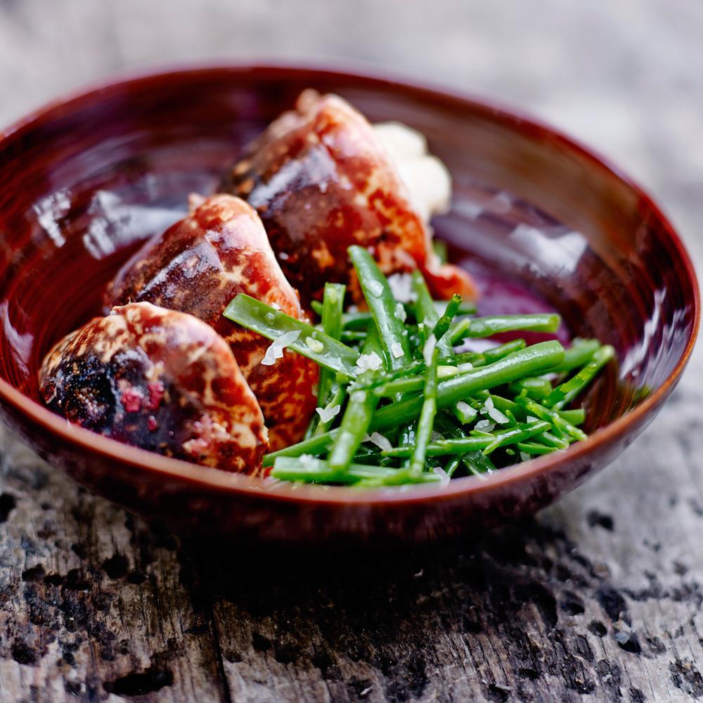 Homard breton grill salade de haricots verts et salicornes une recette crustac s de f tes et - Accompagnement homard grille ...