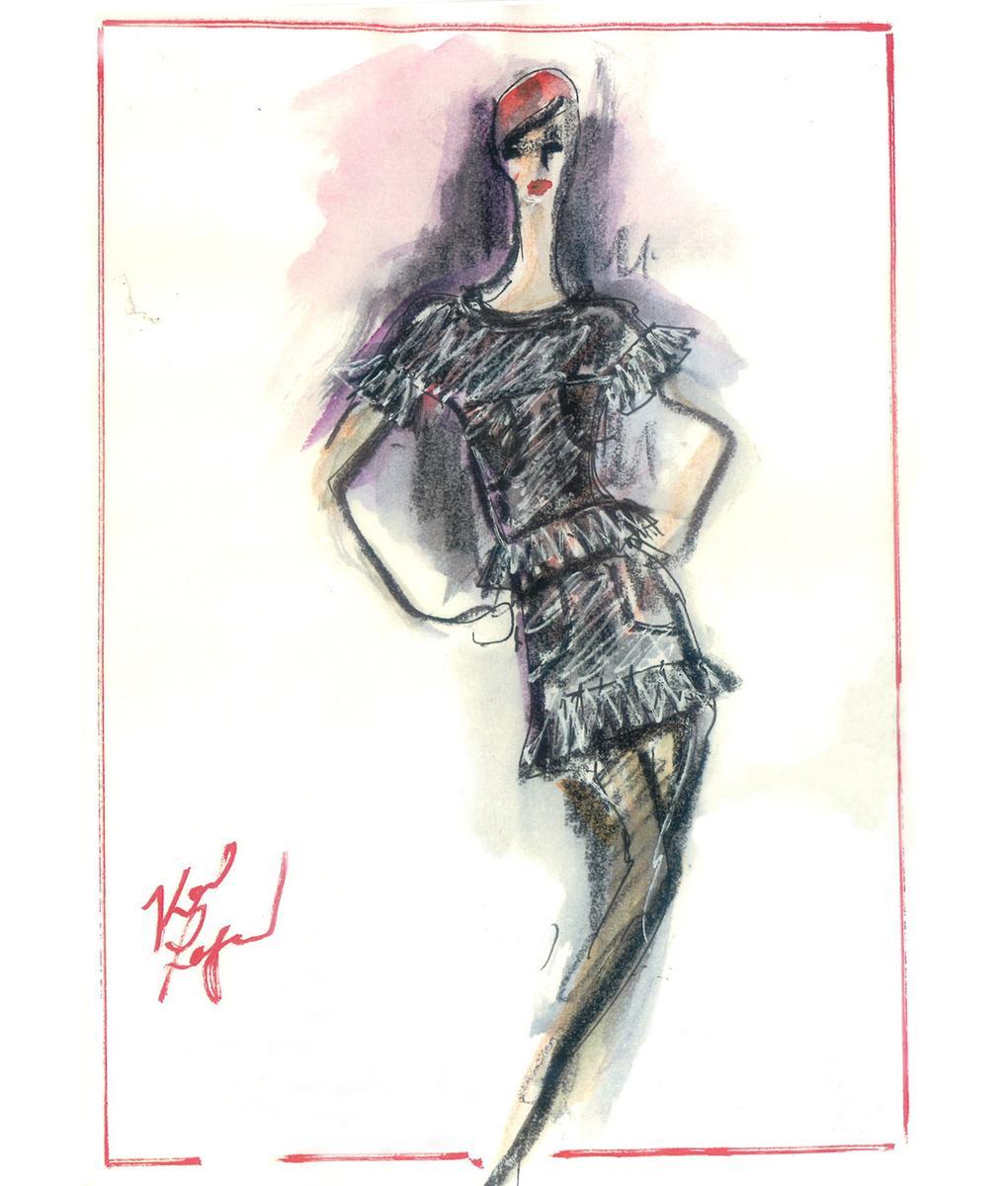 karl lagerfeld redessine l ternelle petite robe noire en. Black Bedroom Furniture Sets. Home Design Ideas