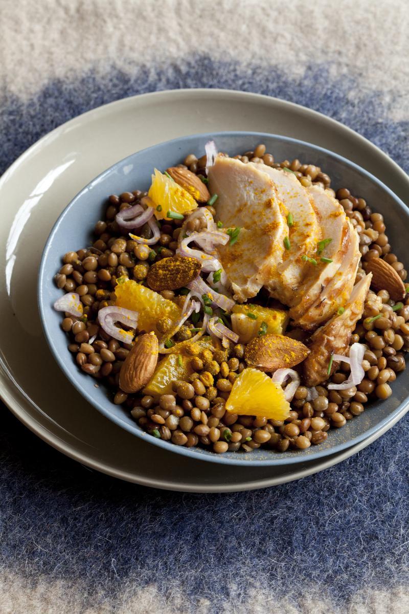 recette salade de lentilles et poulet au curcuma cuisine madame figaro. Black Bedroom Furniture Sets. Home Design Ideas