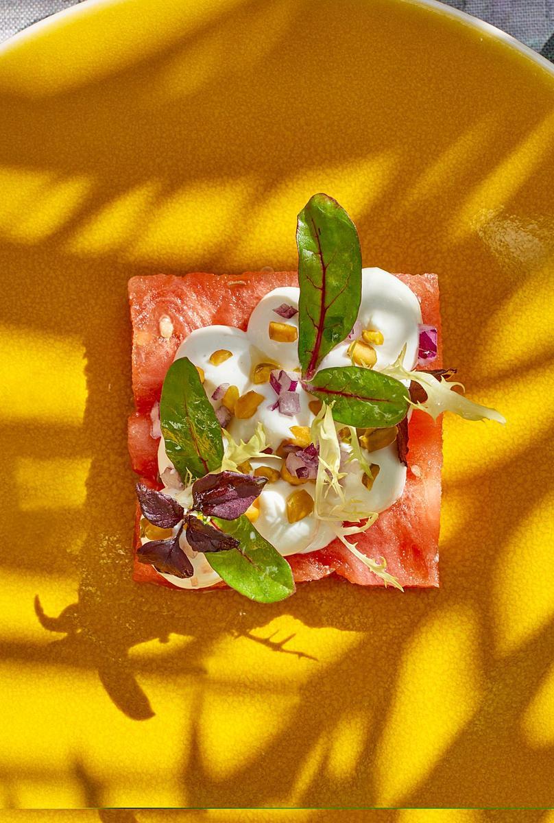 Recette salade de past que ch vre frais et pistache cuisine - Salade de pasteque ...