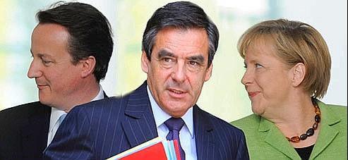 David cameron, François Fillon et Angela Merkel. Crédits photos : AP. Montage lefigaro.fr