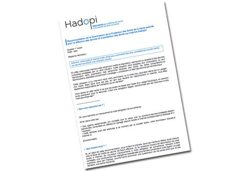 Première page du message électronique d'avertissement envoyé par l'Hadopi aux pirates présumés.