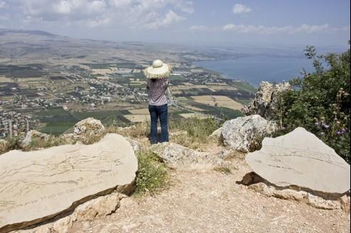 Vue sur le lac de Tibériade depuis le sentier de randonnée dit le Chemin de Jésus.