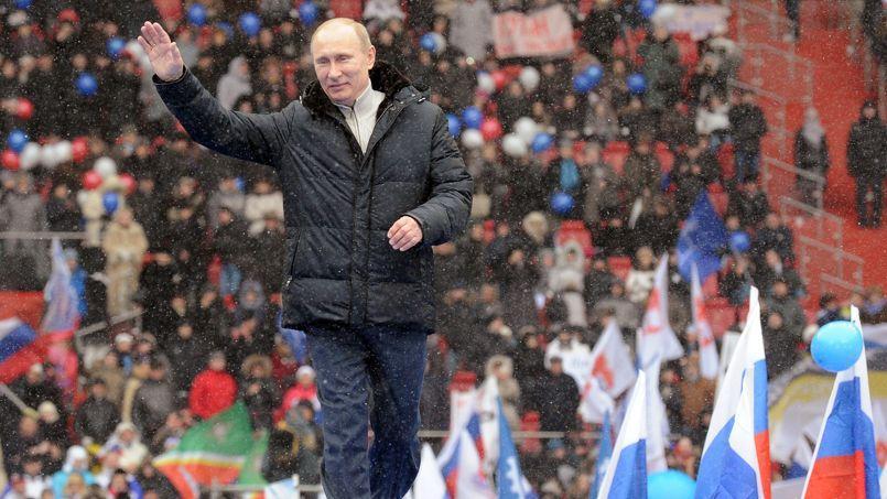 Vladimir Poutine lors d'un meeting présidentiel en 2012.