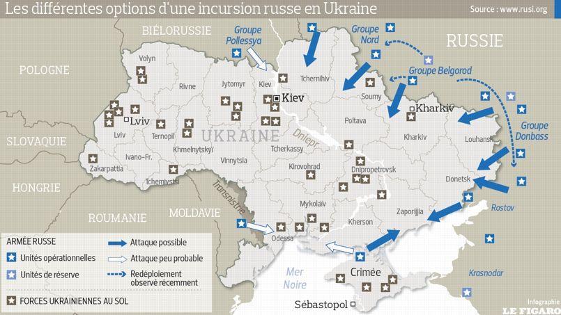 Les quatre scénarios d'une intervention militaire russe en Ukraine