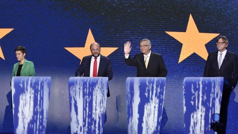 Ska Keller, Martin Schulz, Jean-Claude Juncker et Guy Verhofstadt lors du grand débat européen des candidats à la Présidence de la Commission européenne.