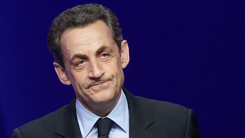 Nicolas Sarkozy lors d'un meeting politique à Paris.