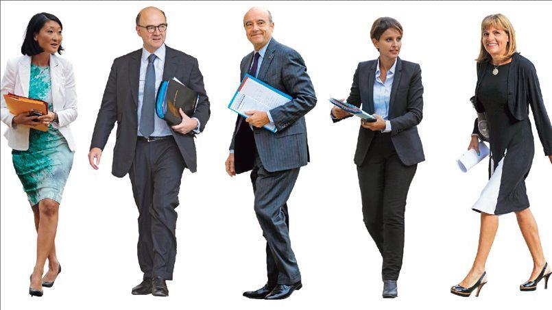 Fleur Pellerin, ministre de la Culture et de la Communication; Pierre Moscovici, commissaire européen aux Affaires économiques; Alain Juppé, maire de Bordeaux; Najat Vallaud-Belkacem, ministre de l'Éducation nationale et Anne Lauvergeon, présidente de la commission Innovation 2030.