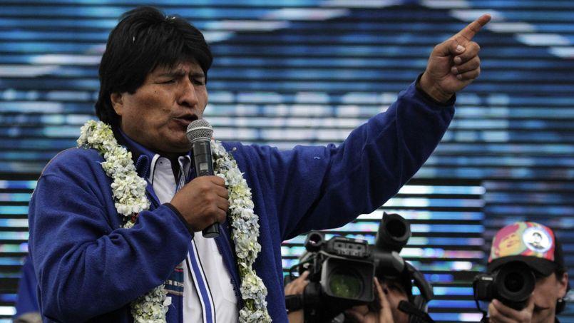 Le président bolivien Evo Morales durant la cérémonie de clôture de sa campagne présidentielle à El Alto, le 8 octobre 2014.