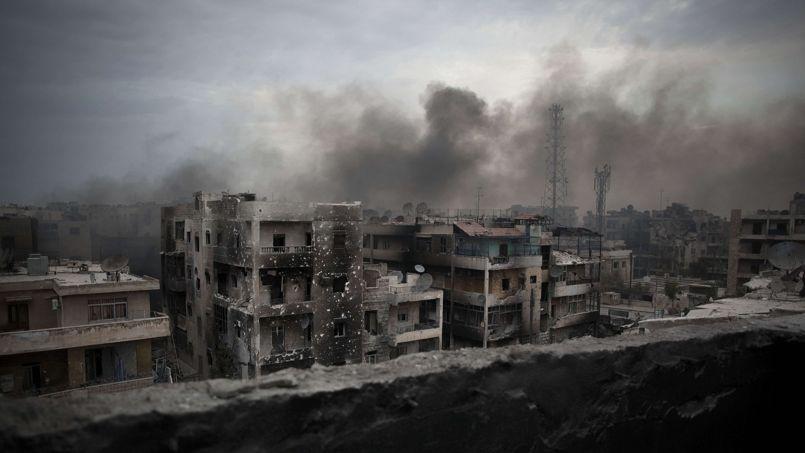 Un faubourg d'Alep, en octobre 2012. L'été précédent, la deuxième ville de Syrie connaissait sa première bataille violente.