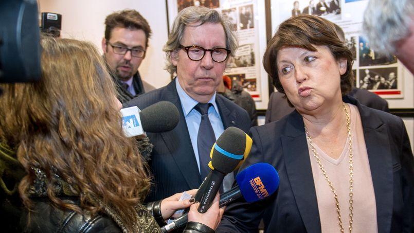Gilles Pargneaux, premier secrétaire fédéral du PS dans le Nord, et Martine Aubry, maire de Lille, le 9 mars à Lille.