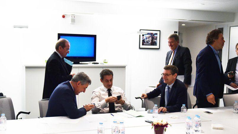 Nicolas Sarkozy, au siège de l'UMP dimanche en attendant les résultats des élections départementales.